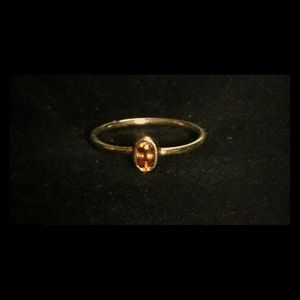 Orange Sapphire, Oval, Ring in Silver-size 7